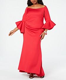 Plus Size Off-The-Shoulder Scuba Gown