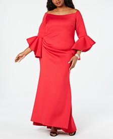 Betsy & Adam Plus Size Off-The-Shoulder Scuba Gown