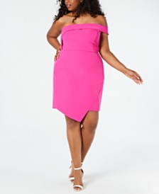 City Studios Juniors' Plus Size Asymmetrical Scuba Dress