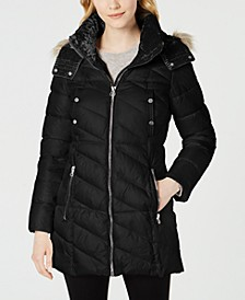 Velvet-Trim Faux-Fur Hooded Puffer Coat