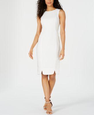 Textured Scalloped-Hem Sheath Dress