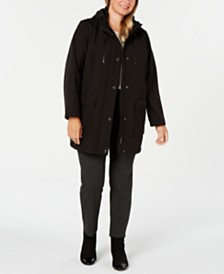 DKNY Plus Size Hooded Water Resistant Anorak Coat