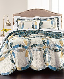 Martha Stewart Collection Wedding Rings Blue Quilt and Sham Collection, Created for Macy's