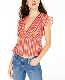 GUESS Marrah Striped Flutter-Sleeve Top
