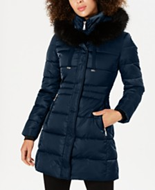 Tahari Faux-Fur-Trim Down Puffer Coat