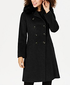 Double-Breasted Faux-Fur-Collar Coat