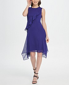 Ruffle Handkerchief Hem Chiffon Dress
