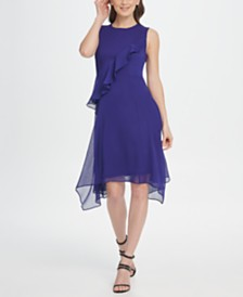 DKNY Ruffle Handkerchief Hem Chiffon Dress
