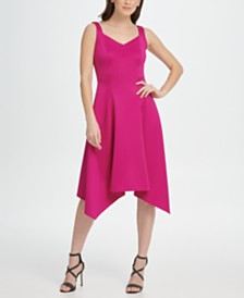 DKNY Scuba Sweetheart Neck Handkerchief Dress