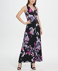 V-Neck Floral Jersey Maxi Dress
