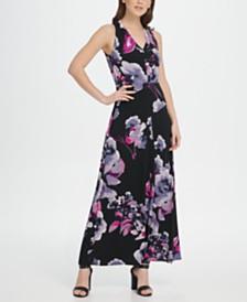 DKNY V-Neck Floral Jersey Maxi Dress