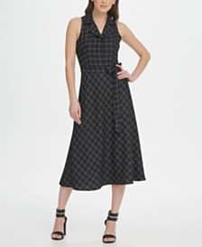 DKNY Windowpane A-line Midi Shirt Dress