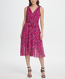DKNY Chiffon Floral Double-V Wrap Midi Dress