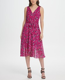 DKNY Chiffon Floral Double-V Wrap Midi Dress