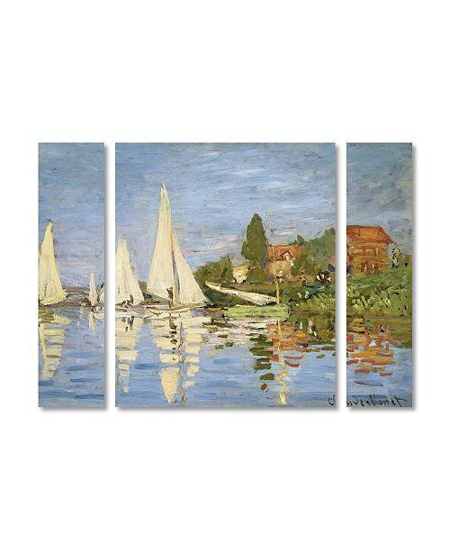 "Trademark Global Claude Monet 'Regatta at Argenteuil' Multi Panel Art Set Large - 41"" x 30"""