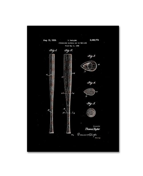 "Trademark Global Claire Doherty 'Baseball Bat Patent 1939 Black' Canvas Art - 14"" x 19"""