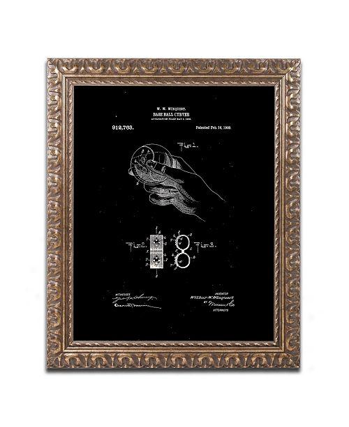 "Trademark Global Claire Doherty 'Baseball Curver Patent 1909 Black' Ornate Framed Art - 16"" x 20"""