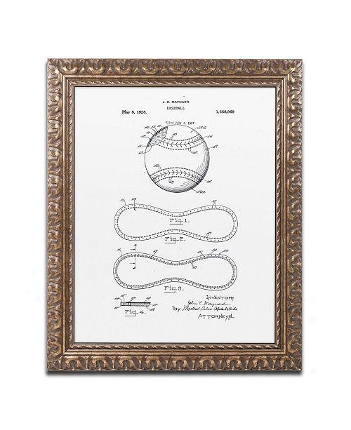 "Trademark Global Claire Doherty 'Baseball Patent 1928 White' Ornate Framed Art - 16"" x 20"""
