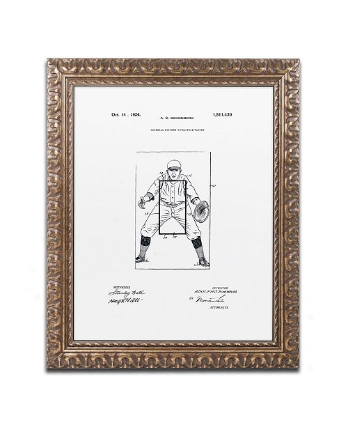 "Trademark Global Claire Doherty 'Practice Target Patent 1924 White' Ornate Framed Art - 16"" x 20"""