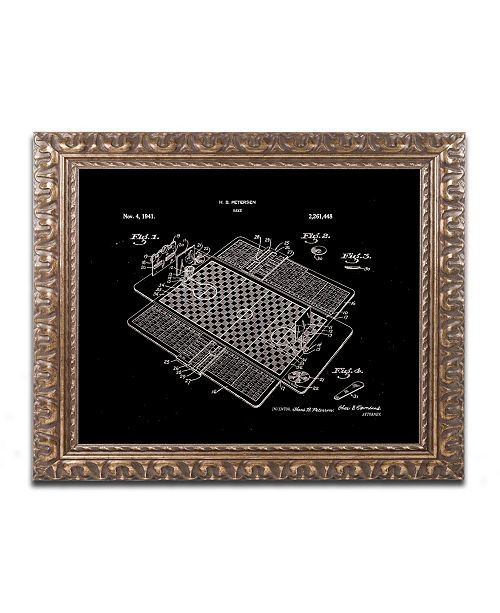 "Trademark Global Claire Doherty 'Basketball Court Game Patent Black' Ornate Framed Art - 20"" x 16"""