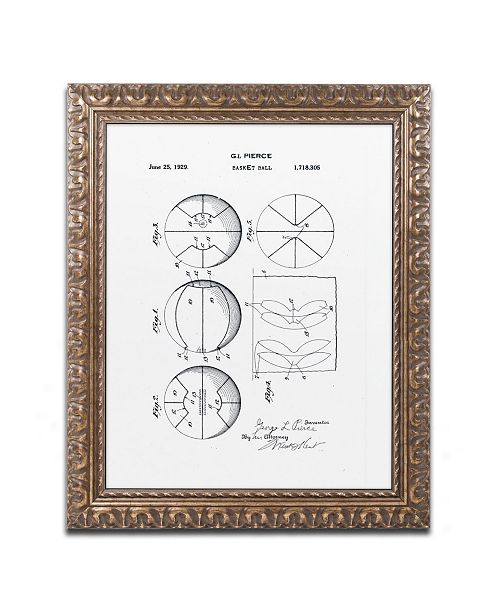 """Trademark Global Claire Doherty 'Basketball Patent 1929 White' Ornate Framed Art - 16"""" x 20"""""""