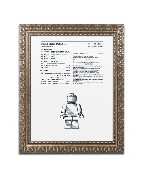 "Trademark Global Claire Doherty 'Lego Man Patent 1979 White' Ornate Framed Art - 16"" x 20"""
