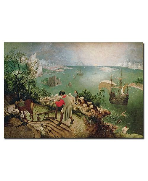 "Trademark Global Pieter Bruegel 'Landscape with Fall Icarus 1555' Canvas Art - 47"" x 30"""