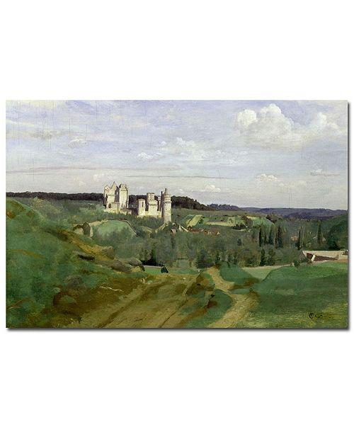 "Trademark Global Jean Baptiste Corot 'View of Chateau de Pierrefonds, 1840' Canvas Art - 24"" x 16"""