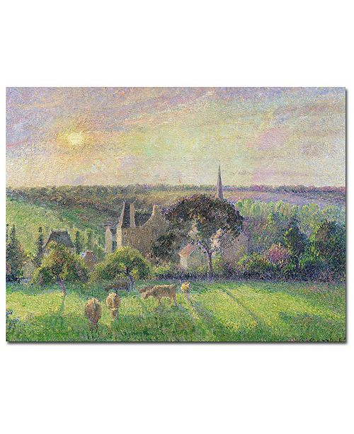 "Trademark Global Camille Pissarro 'The Church and Farm of Eragny 1895' Canvas Art - 14"" x 19"""