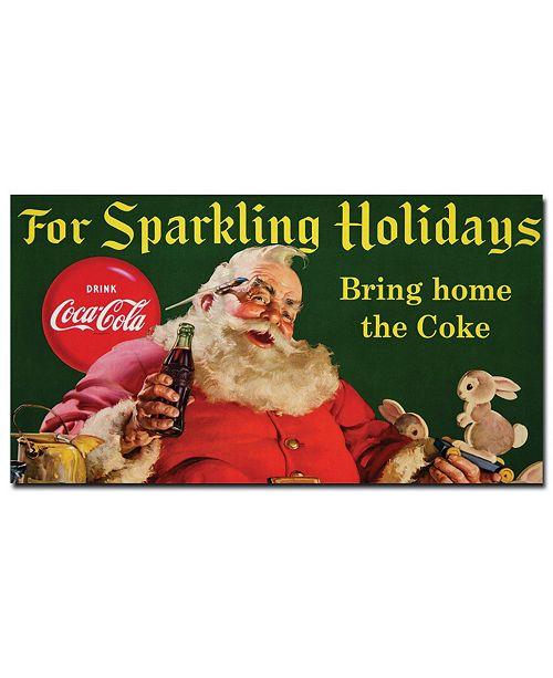 "Trademark Global Coke Santa with Rabbit For Sparkeling Holidays Canvas Art - 13"" x 24"""