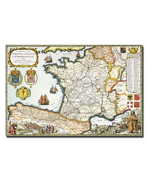 "Trademark Global D. Derveaux 'Map of Routes of St. James 1648' Canvas Art - 14"" x 19"""
