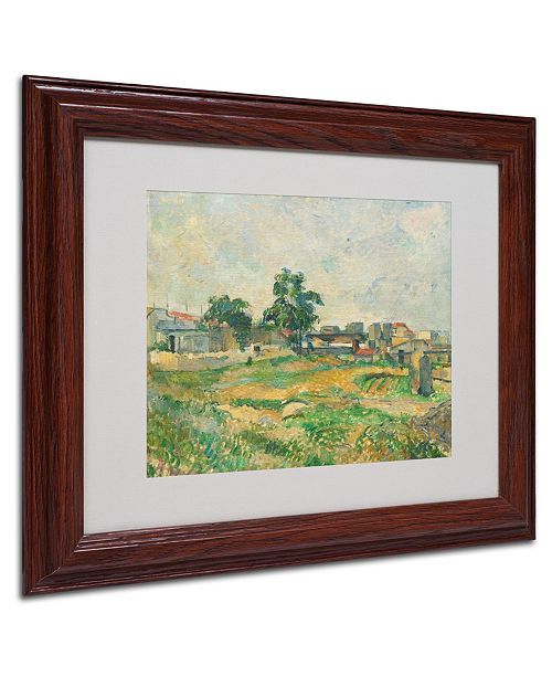 "Trademark Global Paul Cezanne 'Landscape Near Paris 1876' Matted Framed Art - 14"" x 11"""