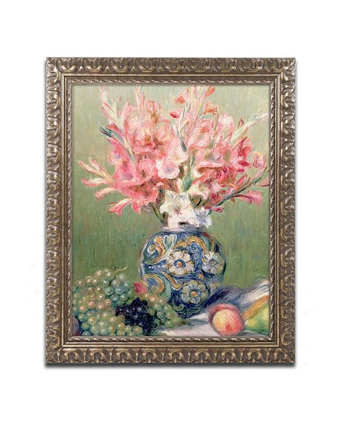 "Trademark Global Pierre Auguste Renoir 'Still life of Fruit and Flowers' Ornate Framed Art - 11"" x 14"""