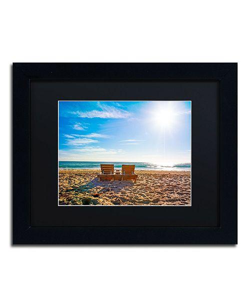 """Trademark Global Preston 'Florida Beach Chair' Matted Framed Art - 11"""" x 14"""""""
