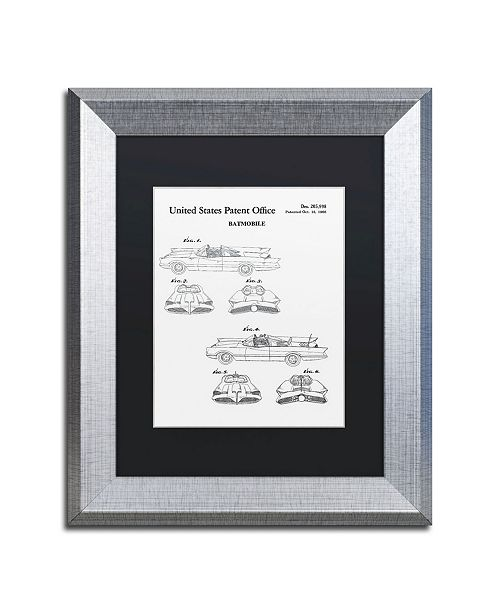 """Trademark Global Claire Doherty 'Batmobile Car Patent 1966 White' Matted Framed Art - 11"""" x 14"""""""