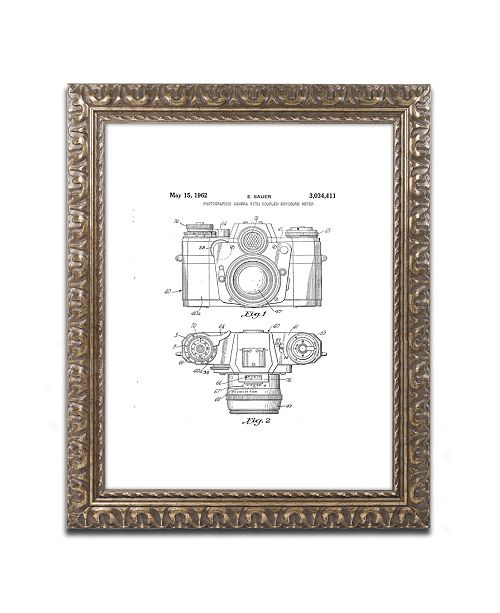 """Trademark Global Claire Doherty 'Photographic Camera 1962 White' Ornate Framed Art - 11"""" x 14"""""""