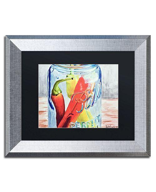 "Trademark Global Jennifer Redstreake 'Ball Jar with 3 Peppers' Matted Framed Art - 11"" x 14"""