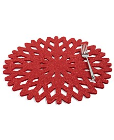 The Cellar Red Glitter Snowflake Placemat, Created for Macy's