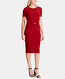 Lauren Ralph Lauren Belted Short-Sleeve Jersey Dress