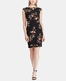 Lauren Ralph Lauren Floral Jersey Cap-Sleeve Dress