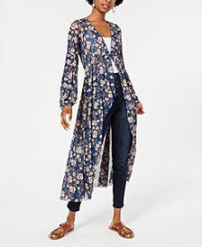 American Rag Juniors' Printed Button-front Duster, Created for Macy's