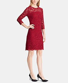 Scalloped-Hem 3/4-Sleeve Lace Dress
