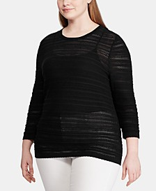 Plus Size Pointelle-Knit 3/4-Sleeve Sweater