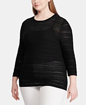 5b1b3fc50912 Lauren Ralph Lauren Plus Size Pointelle-Knit 3/4-Sleeve Sweater