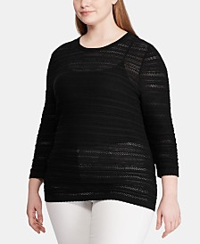 Lauren Ralph Lauren Plus Size Pointelle-Knit 3/4-Sleeve Sweater