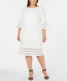 Plus Size Illusion-Trim Sheath Dress
