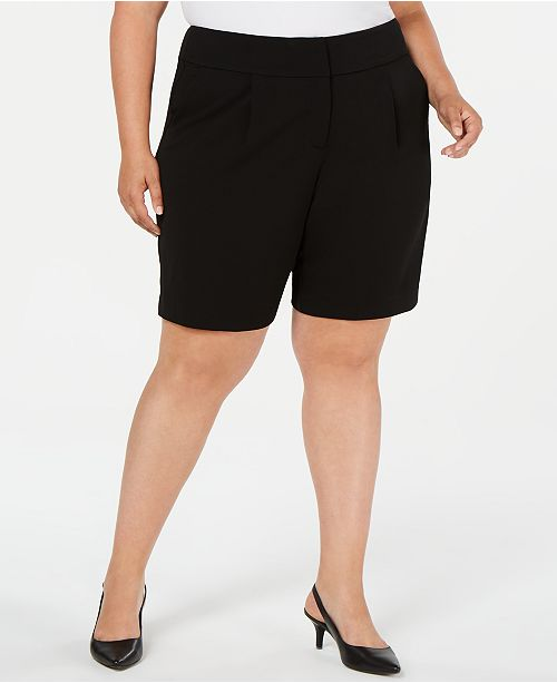 Alfani Plus Size Wide-Waistband Shorts, Created for Macy's