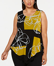 Alfani Plus Size Printed Overlay Top, Created for Macy's