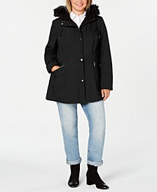 Plus Size Zip-Front  Water Resistant  Hooded Raincoat