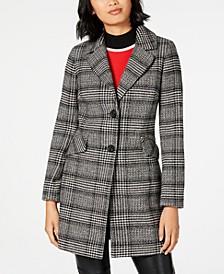 Single-Breasted Plaid Coat